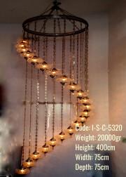 22 li Helezon Metal Sıvama No3 Cam Otantik Set Avize - I-S-C-5320