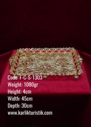 Bakır El Yapımı Telkari Osmanlı Büyük Boy Altın Kaplama Tepsi - F-C-S-1303