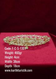 Bakır El Yapımı Telkari Osmanlı Orta Boy Altın Kaplama Tepsi - F-C-S-1301