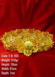 El Emeği Bakır Telkari Altın Kaplama Kalın Kemer - F-B-103