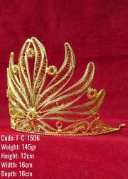 Bakır Telkari El Emeği Orijinal Altın Kaplama Taç - F-C-1506