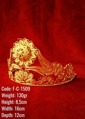 Bakır Telkari El Emeği Orijinal Altın Kaplama Gelin / Nişan/ Kına Tacı - F-C-1509
