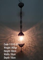 Otantik  Askılı Bakır Telkari No3 Şeffaf Çatlatılmış Cam Askılı Lamba - F-O-H-617