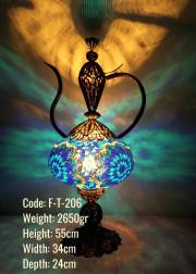 Bakır El Emeği Telkari No5 Mozaik Masa Lambası İbrik - F-T-206