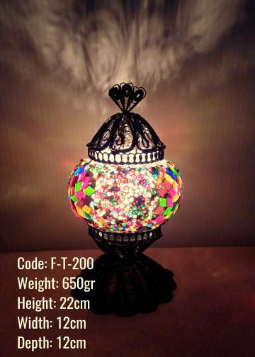 Mozaik Telkari Bakır Masa Lambası - F-T-200