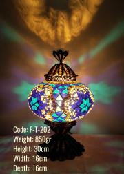 Mozaik Masa Lambası Telkari Bakır No:3 Boy - F-T-202