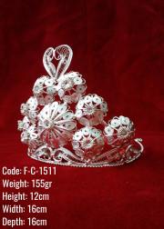 Bakır Telkari El Emeği Orijinal Gümüş Kaplama Kina / Gelin Tacı - F-C-1511