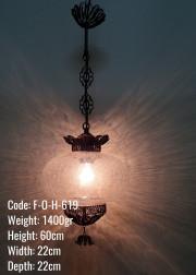 Otantik Tek Zincir Askılı Bakır Telkari No5 Şeffaf Çatlatılmış Cam Askılı Lamba - F-O-H-619