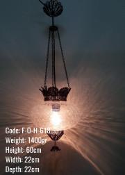 Otantik  Askılı Bakır Telkari No3 Şeffaf Çatlatılmış Cam Askılı Lamba - F-O-H-618