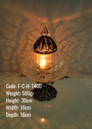 Osmanlı Bakır Telkari Mumluk No3 Çatlak Cam Tealight - F-C-H-1400