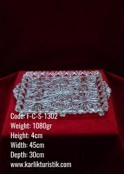Bakır El Yapımı Telkari Osmanlı Büyük Boy Gümüş Kaplama Tepsi - F-C-S-1302