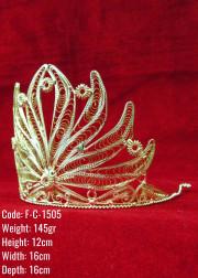 Bakır Telkari El Emeği Orijinal Gümüş Kaplama Taç - F-C-1505