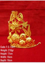 Bakır Telkari El Emeği Orijinal Altın Kaplama Büyük Boy Taç - F-C-1501