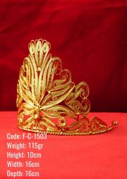 Bakır Telkari El Emeği Orijinal Altın Kaplama Taç - F-C-1503