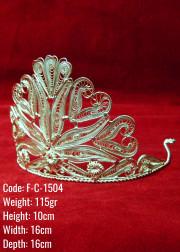 Bakır Telkari El Emeği Orijinal Gümüş Kaplama Taç - F-C-1504