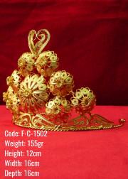Bakır Telkari El Emeği Orijinal Altın Kaplama Kabartmalı Taç - F-C-1502