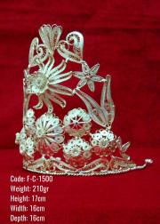 Bakır Telkari El Emeği Orijinal Gümüş Kaplama Büyük Boy Taç - F-C-1500